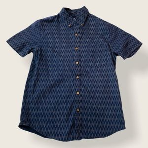American Eagle Navy Short Sleeve Button Down - S